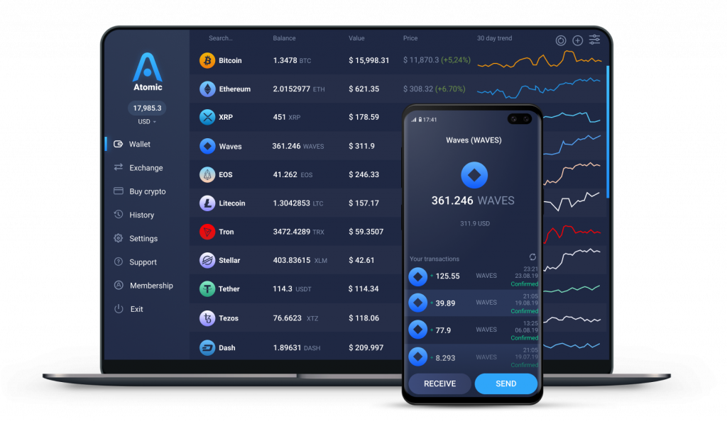 Waves cryptocurrency wallet